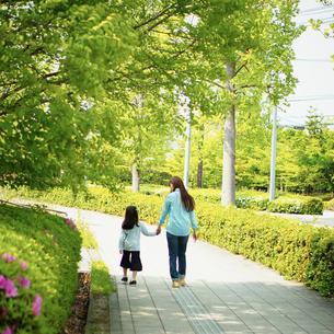 歩道を手をつないで歩く母と女の子の写真素材 [FYI02052309]
