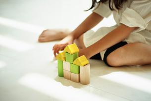積木で家を作る女の子の写真素材 [FYI02052670]