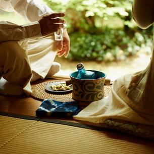 縁側でお酒を楽しむシニア夫婦の写真素材 [FYI02052698]