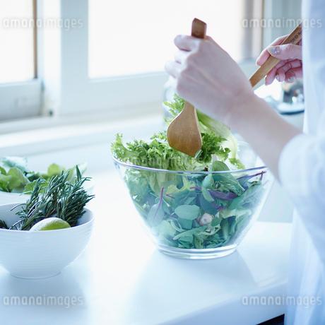 キッチンで料理をする女性の写真素材 [FYI02053329]