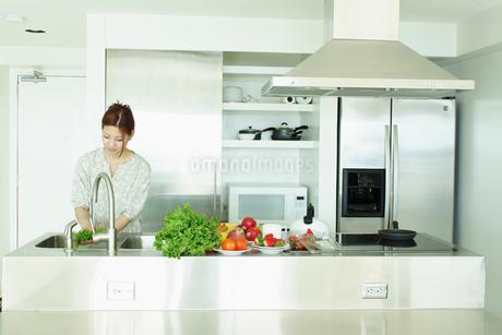 キッチンで料理をする女性の写真素材 [FYI02053591]