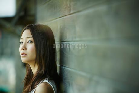 木の壁に寄り掛かる女性の写真素材 [FYI02053743]
