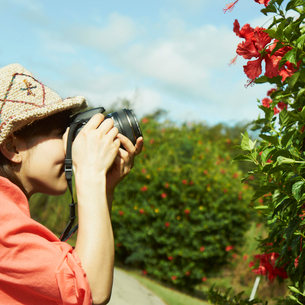カメラで花を撮影する女性の写真素材 [FYI02054135]