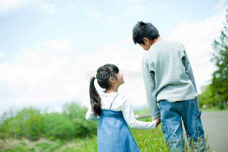 手をつなぐ男の子と女の子の後ろ姿の写真素材 [FYI02054382]