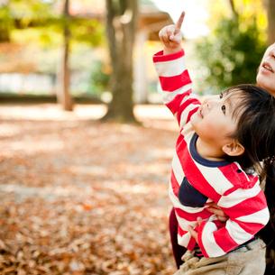 秋の公園で上を指さす女の子と母親の写真素材 [FYI02054451]