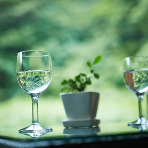 水が入ったグラスとプランターの写真素材 [FYI02054650]