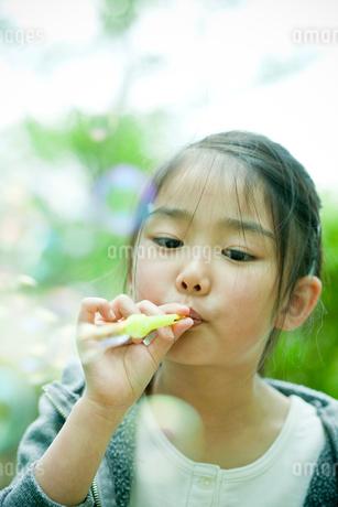 シャボン玉で遊ぶ女の子の写真素材 [FYI02054725]