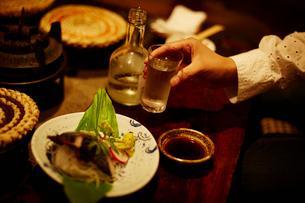 お酒を持つ女性の手の写真素材 [FYI02055142]
