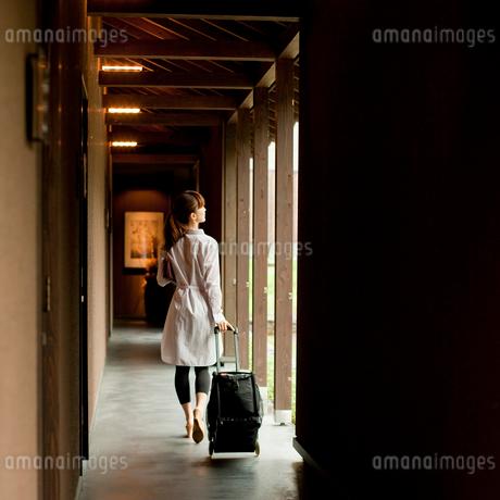 キャリーバッグを引いて歩く女性の後ろ姿の写真素材 [FYI02055251]