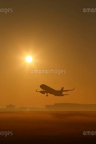 朝日と飛行機の写真素材 [FYI02055408]