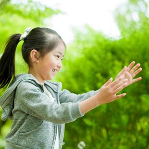 シャボン玉で遊ぶ女の子の写真素材 [FYI02055588]