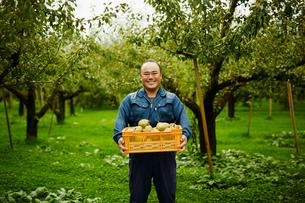 ラフランスが入った箱を持つ笑顔の農夫の写真素材 [FYI02055936]