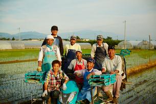 田植えした水田と農家の人達の写真素材 [FYI02056071]
