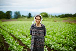 畑に立つ笑顔の農婦の写真素材 [FYI02056496]