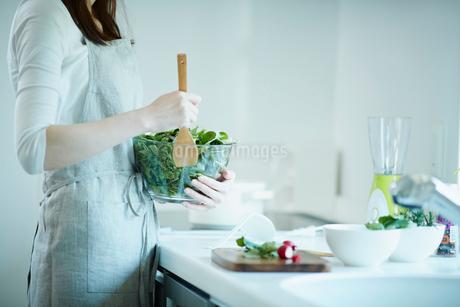 サラダを作る女性の写真素材 [FYI02056838]