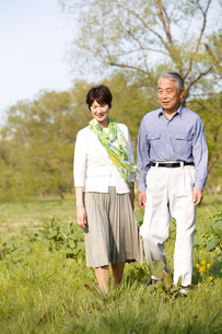 野原を歩くシニア夫婦の写真素材 [FYI02056919]