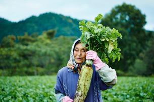 ダイコンを持つ笑顔の農婦の写真素材 [FYI02057068]