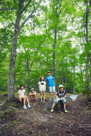 森林の中の子供達の写真素材 [FYI02057364]