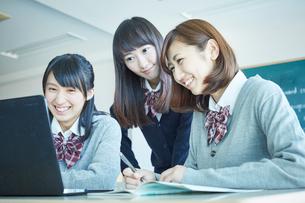 パソコンを見る3人の女子学生の写真素材 [FYI02057497]