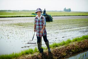 水田に立つ笑顔の農夫の写真素材 [FYI02057555]