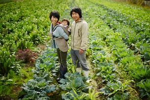 畑に立つ農家ファミリーの写真素材 [FYI02057654]