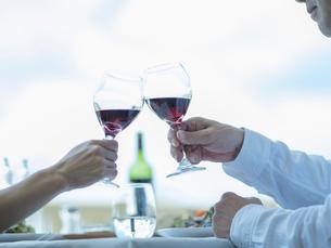乾杯するミドル夫婦の手の写真素材 [FYI02057710]
