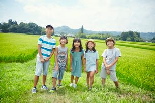 緑の田園に立つ子供達の写真素材 [FYI02057948]