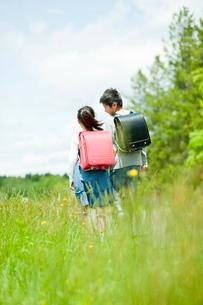 小学生の男の子と女の子の後ろ姿の写真素材 [FYI02058109]