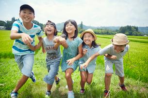 緑の田園ではしゃぐ子供達の写真素材 [FYI02058145]
