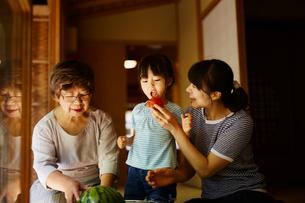 女の子にトマトを食べさせる母親とスイカを冷やす祖母の写真素材 [FYI02058386]