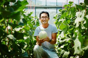 収穫したメロンを持つ農夫の写真素材 [FYI02058441]