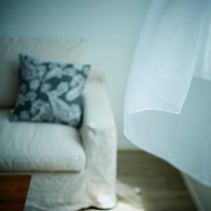 リビングルームのソファと風になびくカーテンの写真素材 [FYI02059294]