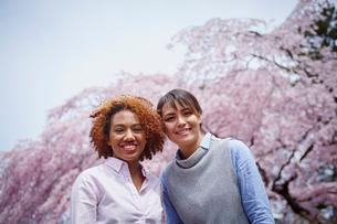 笑顔の外国人女性2人と桜の写真素材 [FYI02059523]