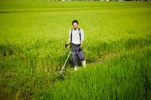 草刈り機を持つ農夫の写真素材 [FYI02059808]