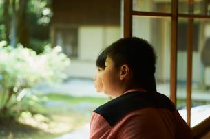 縁側から庭を眺める兄妹の写真素材 [FYI02060094]