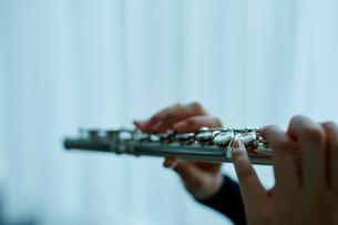 フルートを吹く女性の手元の写真素材 [FYI02060745]