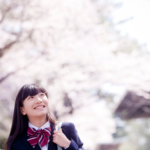 桜を見上げる女子中学生の写真素材 [FYI02060840]