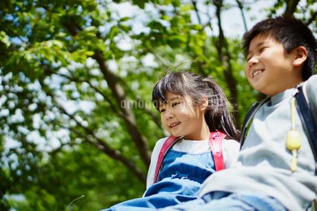 新緑と笑顔の小学生の男の子と女の子の写真素材 [FYI02060898]