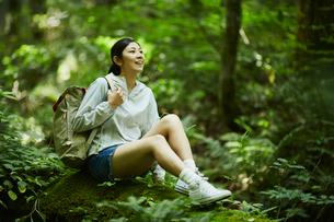森の中で休憩する女性の写真素材 [FYI02061001]