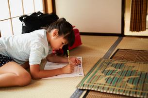 宿題をする女の子の写真素材 [FYI02061081]