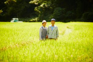 稲田に立つ農家夫婦の写真素材 [FYI02061942]