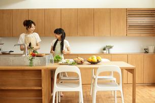 キッチンに立つ母親と女の子の写真素材 [FYI02062290]