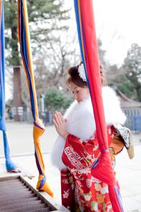 神社でお参りをする振袖姿の女性の写真素材 [FYI02062382]