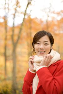 紅葉の森林と赤いコートと白いマフラーを着た女性の写真素材 [FYI02062457]