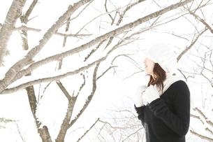 雪の木々と白いニット帽子の女性の写真素材 [FYI02062493]