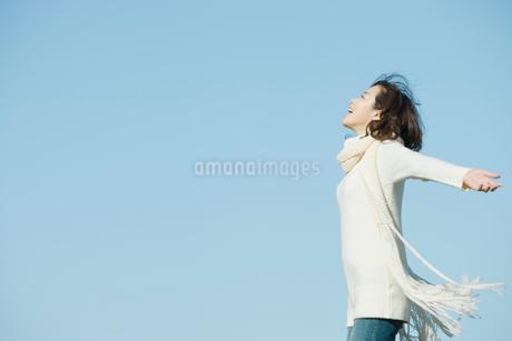 マフラーを巻いた女性と青空の写真素材 [FYI02062692]