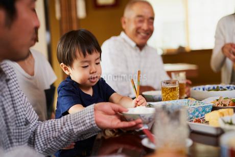 食事をする三世代家族の写真素材 [FYI02062731]