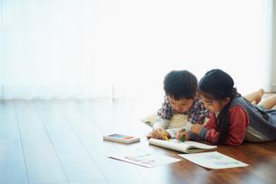 お絵描きをする男の子と女の子の写真素材 [FYI02062901]