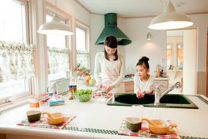 キッチンに立つ女の子と母親の写真素材 [FYI02063130]