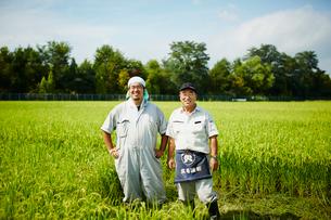 稲田に立つ笑顔の農夫2人の写真素材 [FYI02063422]